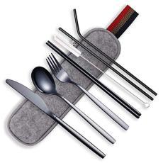Berglander Portable Utensils,Travel Camping Flatware Set,Stainless Steel Silverware Set,Include Knive/Fork/Spoon/Chopsticks/Straws/Brush/Portable Case(Black-8 Piece)