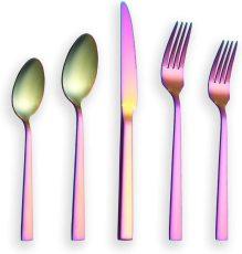 20 Pieces Matte Rainbow Plated Flatware Set Service for 4