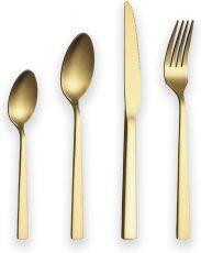 24 Pieces Matte Golden Silverware Set Service for 6