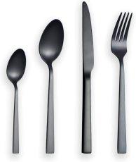 24 Pieces Matte Black Silverware Set Service for 6