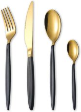 24 Piece Black Gold Cutlery Set Service  for 6