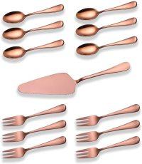 13 Pieces  Rose Gold Copper Color Cake Serving Set