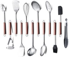 12 - Kitchen Utensils, Cookware Set Gadgets, (Rose Gold Handle)