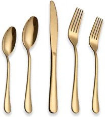 20-Piece Shiny Gold Plated Flatware Set,Service For 4