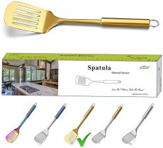 Kitchen Spatulas, Barbeque Slotted Turner(Gold)