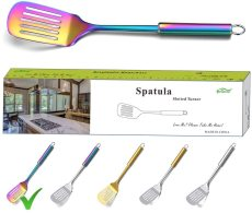 Stainless Steel Rainbow Slotted Turner For BBQ