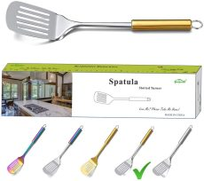 Stainless Steel Gold Handle Slotted Turner(Gold Handle)