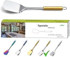 Stainless Steel Gold Handle Fish Spatula, BBQ Spatulas (Gold Handle)