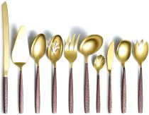 10-Pieces With Moon Surface Handle And Shiny Gold Head Titanium Plating Serving set