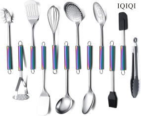 IQIQI  12 Pieces Cooking Utensils Set With Rainbow Handle