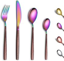 24 Pieces with lunar surface handle and shiny rainbow mouth titanium coating