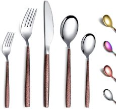 30 PCS Shiny Glossy Mouth Titanium coating with Moon Surface Handle, service for 6