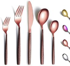 30 Pieces Shiny Rose Gold Mouth titanium coating Utensil set, service for 6