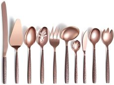 10 Pieces Rose Gold Mouth Titanium Coating Cutlery Serving Set
