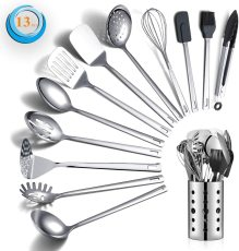 13 Pieces Stainless Steel Nonstick Cookware Set (silver)