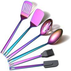 6 Packs MultiColor Rainbow  Stainless Steel Nonstick Kitchen Tool Set