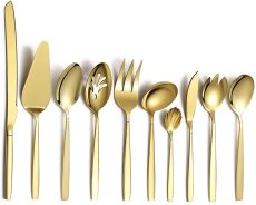 10 Pieces Gold Cutlery Serving Set