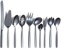 10 Pieces Black Stainless Steel Cutlery Serving Set