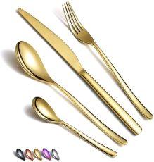 24 PCS Gold Titanium Coating Cutlery Set Service for 6