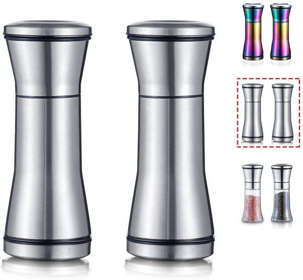 Pepper Mill, Salt Grinder,Salt Pepper Shaker Set of 2(Silver)