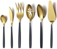 Black Gold Flatware Serving Spoon 6 Pieces