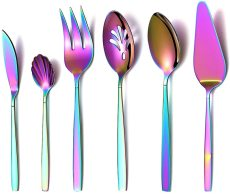 6 Pieces Rainbow Flatware Serving Set Colorful Serving Utensils