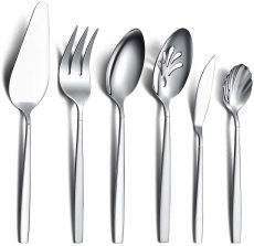 6 Pieces Stainless Steel Serving Silverware Set,Silver Serving Utensil