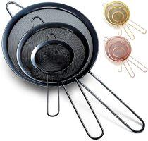 Black Fine Mesh Strainer 3 Pieces Set, Stasher Sieve Pasta Strainers