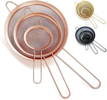Rose Gold Matcha Tea Strainer,Food Strainer 3 Pieces Set
