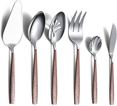 6 Piece Flatware Set with Moon Surface Handle and Titanium Plated Bright Head