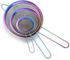 Rainbow Fine Mesh Strainer 3 Pieces Set