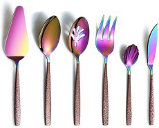 6 Piece Colorful Cutlery Spoons Utensils with Moon Surface Handle