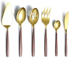 6 Piece Flatware Set with Moon Surface Handle,Shiny Gold Serving Spoons Utensils