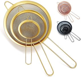 Gold Fine Mesh Strainer 3 Pieces Set