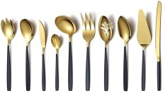 10 Pieces Silver and Black Gold Flatware Serving Set