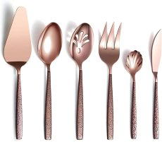 6 Piece Moon Surface Handle Copper Cutlery Spoons Utensil