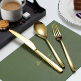 Gold Silverware Set 20 Pieces,Service for 4 (Shiny Golden)