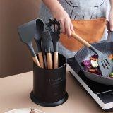 Matte Black Utensil Crock Kitchen Utensil Organizer