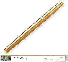 Gold Rolling Pin, 16.7 Inches Stainless Steel Matte Finish
