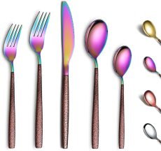 Rainbow 20 Piece with Moon Surface Handle Shiny Mouth, Cutlery set service for 4