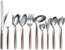 Silverware Serving Set 10 Pieces With Moon Surface Handle And Shiny Mirror Polish