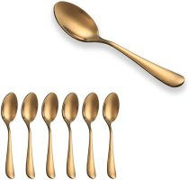 Gold Plated Stainless Steel Mini spoon,Coffee Spoons, Mocca Spoon, Ice Cream spoon Set of 6