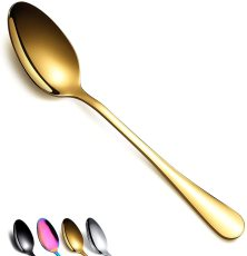 Dinner Spoon of 12, Berglander 7.5  Stainless Steel Titanium Plating Shiny Silverware