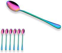 Multicolor Long Handle Latte Spoon 18/0 Stainless Steel Ice Cream Spoon