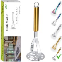 Cooking Tool Potato Masher,Stainless Steel Gold Handle Potato Ricer With Titanium Plating