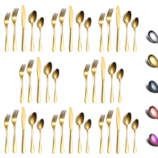Gold 40-Piece Stainless Steel Flatware Set, Service for 8