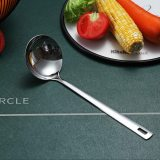 Gold Cooking ladle, Stainless Steel Solid Spoon Titanium Gold Plating
