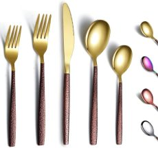 20- Piece With Moon Surface Handle And Shiny Gold Head Titanium Plating Flatware set