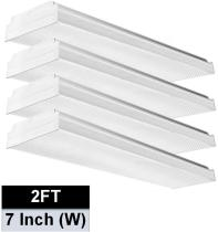 AntLux 2FT LED Wraparound Light, 20W Flush Mount LED Garage Shop Lights, 2400LM, 4000K Neutral White, 2 Foot Commercial Linear Ceiling Lighting Fixture for Kitchen, Laundry, Workshop, Closet, 4 Pack