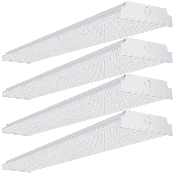 AntLux 4ft LED Garage Shop Lights LED Wraparound Light Fixture, 50W 5500LM, 4000K Neutral White, Integrated Low Profile Linear Flush Mount Ceiling Lighting, 128W Fluorescent Tube Replacement, 4 Pack